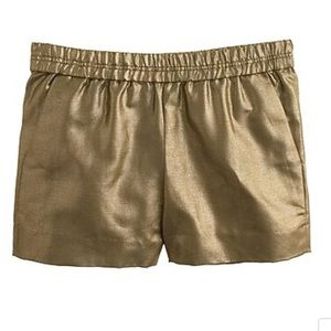 J Crew Metallic Linen Shorts Sz 10 Gold NEW